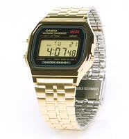 Gold Strap Black Face Retro Digital Watch from Casio